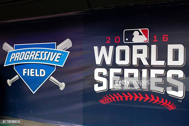 The Progressive Field and World Series logos on the dugout wall during workouts in preparation for the 2016 World Series between the Chicago Cubs and...