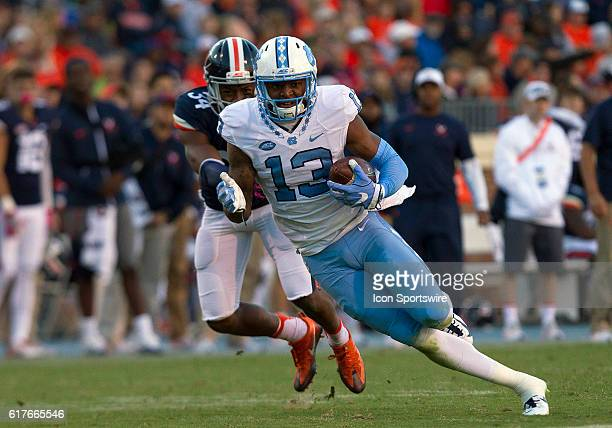 UNC wide receiver Bug Howard rushes upfield during an NCAA football game between the Virginia Cavaliers and the UNC Tar Heels at Scott Stadium in...