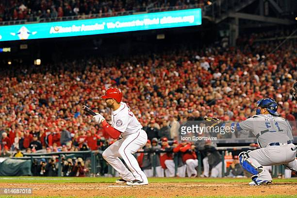 Washington Nationals shortstop Danny Espinosa pops up a sacrifice bunt attempt in the eighth inning against the Los Angeles Dodgers at Nationals Park...