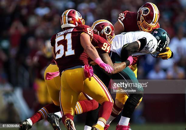 Washington Redskins defensive end Trent Murphy , Washington Redskins outside linebacker Preston Smith and Washington Redskins inside linebacker Will...