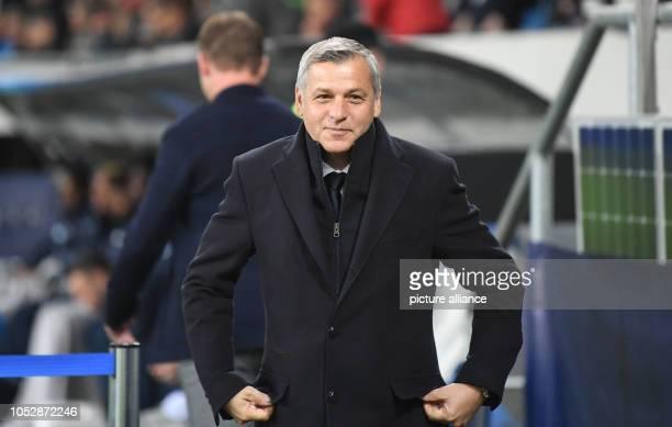 23 October 2018 BadenWuerttemberg Sinsheim Soccer Champions League 1899 Hoffenheim Olympique Lyon Group stage Group F Matchday 3 Bruno Genesio coach...