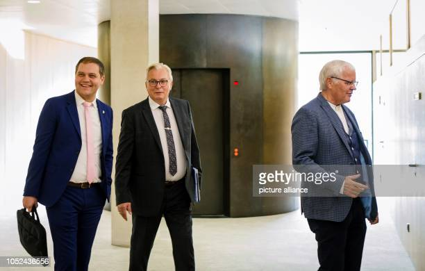 18 October 2018 BadenWuerttemberg Stuttgart The two AfD members Anton Baron and Emil Sänze together with Bernd Gögel chairman of the AfD...