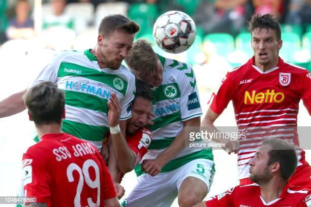 Soccer 2nd Bundesliga SpVgg Greuther Fuerth vs Jahn Regensburg 9th matchday at the Ronhof Thomas Sommer Sportpark Fuerth's Mario Maloca and Richard...