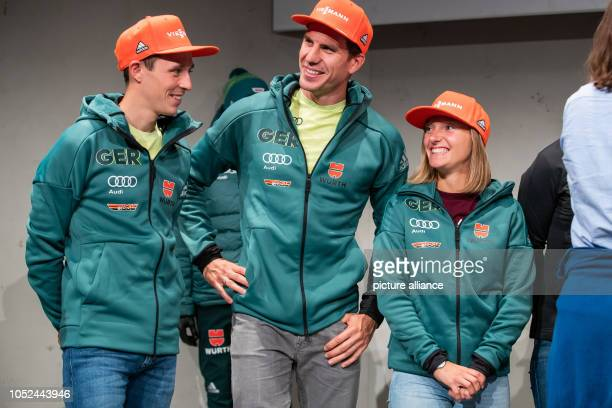 The athletes awarded the Golden Ski 2018 by the German Ski Association Eric Frenzel Nordic combined athlete Arnd Peiffer biathlete and Katharina...