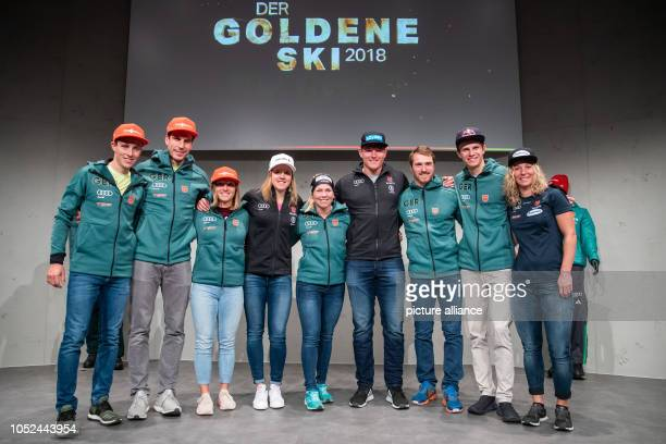 The athletes awarded with the Golden Ski 2018 of the German Ski Association Eric Frenzel Nordic combiner Arnd Peiffer biathlete Katharina Althaus ski...