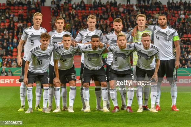 Soccer U21 men European Championship qualification Germany vs Norway 1st round Group 5 13th matchday at Audi Sportpark The German team Front Luca...