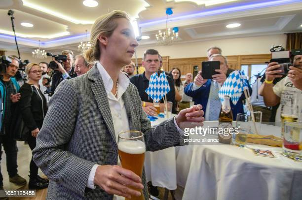 October 2018, Bavaria, Mamming: 14 October 2018, Germany, Munich: Alice Weidel, leader of the AfD parliamentary group, comes to the AfD election...