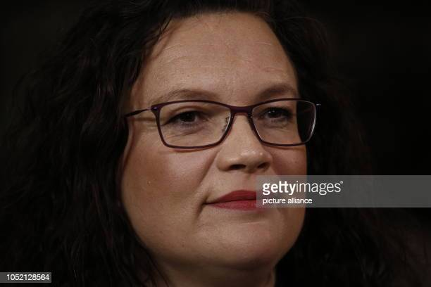 October 2018, Bavaria, Munich: 14 October 2018, Germany, Munich: Andrea Nahles, federal chairwoman of the SPD, makes a statement in the Willy Brandt...