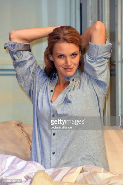 Actress EvaMaria Grein von Friedl sitting on stage during a photo rehearsal for the play Arthur und Claire in the Komoedie at the Bayerischer Hof The...