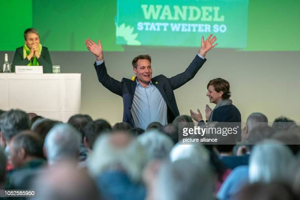 20 October 2018 Germany RegensburgLudwig Hartmann leader of the parliamentary group Alliance 90/The Greens in the state parliament waves to the...