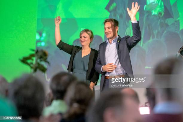 20 October 2018 Germany Regensburg Katharina Schulze and Ludwig Hartmann parliamentary party leaders of Alliance 90/The Greens in the Bavarian state...