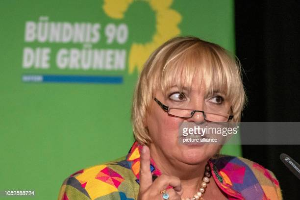 20 October 2018 Germany Regensburg Claudia Roth Vice President of the Bundestag speaks to the delegates at the extraordinary party conference of the...