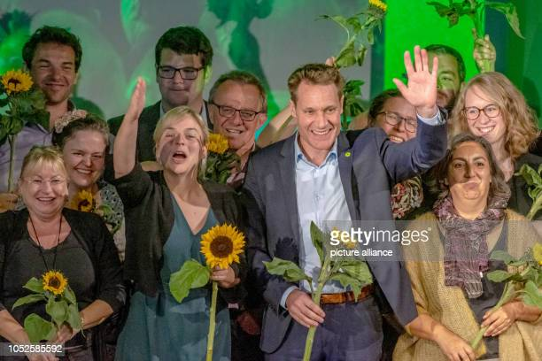 20 October 2018 Germany RegensburgKatharina Schulze and Ludwig Hartmann parliamentary party leaders of Alliance 90/The Greens in the Bavarian state...