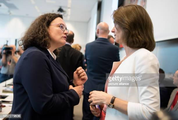 16 October 2018 Germany Berlin Andrea Nahles Chairwoman of the SPD and Katarina Barley Federal Minister of Justice are talking at the beginning of...