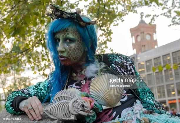 27 October 2018 Germany Berlin A participant of the ZombieWalk poses in the Klosterstrasse Photo Paul Zinken/dpa/ZB
