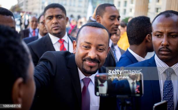 Abiy Ahmed Ali Prime Minister of the Democratic Federal Republic of Ethiopia is welcomed at Pariser Platz in front of the Brandenburg Gate Eleven...