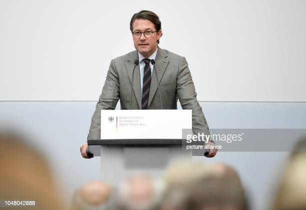 Andreas Scheuer Federal Minister of Transport speaks at the presentation of the expert's draft 'Future Alliance Rail for a Target Timetable of the...