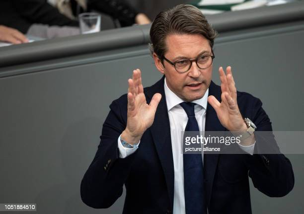 Andreas Scheuer Federal Minister of Transport speaks during the 55th session of the German Bundestag on the subject of diesel driving bans in major...