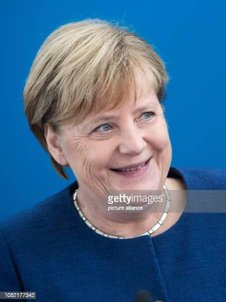 Angela Merkel Chancellor and chairwoman of the CDU sits in the KonradAdenauerHaus at the beginning of the CDU executive board meeting The CSU has...