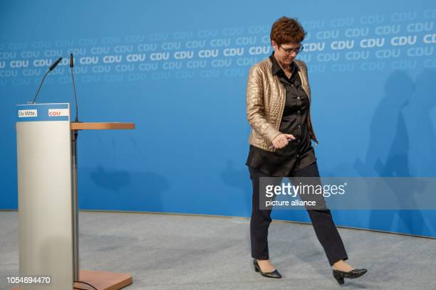 October 2018, Berlin: Annegret Kramp-Karrenbauer, General Secretary of the Christian Democratic Union of Germany , after making a statement at the...