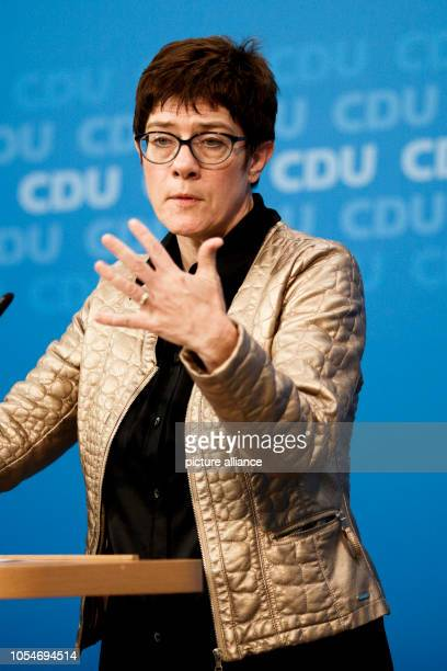 October 2018, Berlin: Annegret Kramp-Karrenbauer, General Secretary of the Christian Democratic Union of Germany , speaking at the party headquarters...