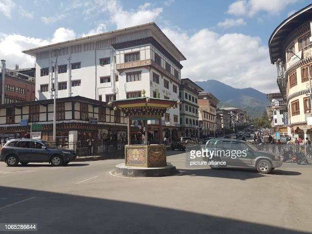 October 2018, Bhutan, Thimphu: In a cottage at a crossroads, a policeman handles traffic. Thimphu doesn't have traffic lights. The small Himalayan...