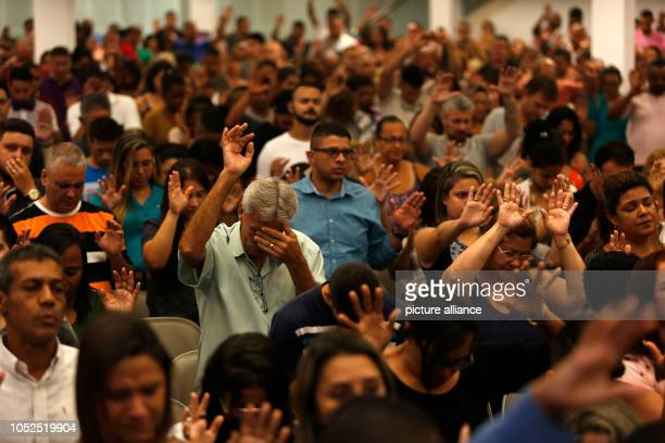 Evangelicals participate in the last evangelical mass before the election in Brazil The rightwing populist presidential candidate Bolsonaro is...