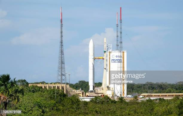 19 October 2018 France Kourou The Ariane 5 launch vehicle with the BepiColombo space probe on board is about to launch at the Kourou spaceport The...