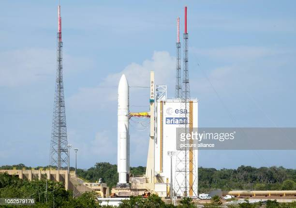 October 2018, France, Kourou: 19 October 2018, France, Kourou: The Ariane 5 launch vehicle with the BepiColombo space probe on board is about to...
