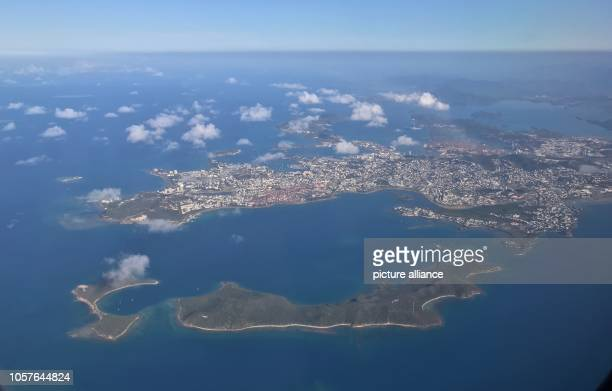 The French overseas territory of New Caledonia votes on Sunday on independence from France The photo shows the island capital Nouméa from the air...