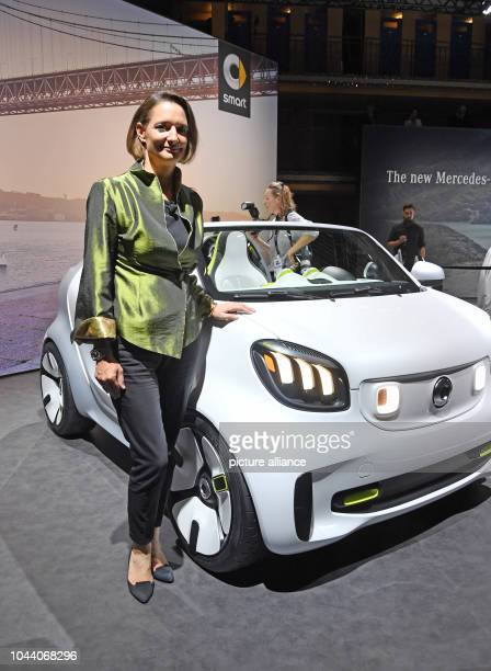 01 October 2018 France Paris The new smart boss Karin Adt stands in a Smart forease during a MercedesBenz Media Preview in Paris The car is an...