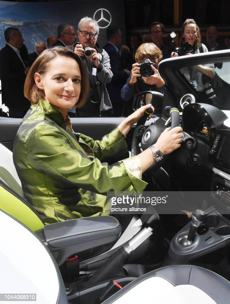 01 October 2018 France Paris The new smart boss Karin Adt sits in a Smart forease during a MercedesBenz Media Preview in Paris The car is an...