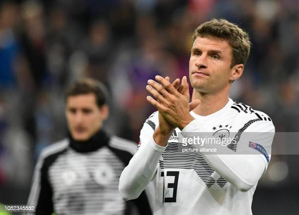Soccer Nations League A France Germany Group stage Group 1 4th matchday at the Stade de France Thomas Müller from Germany gestures after the 12...