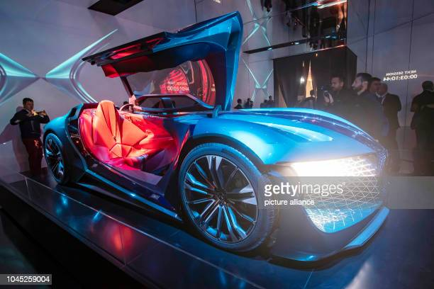 The electric version of DS Automobiles' DS X ETense can be seen on the second press day of the Paris International Motor Show The Motor Show will be...
