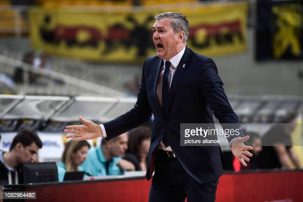 24 October 2018 Greece Athens Basketball Champions League preliminary round Group C 3rd matchday AEK Athens Brose Bamberg Coach Ainars Bagatskis from...