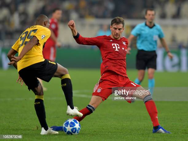 Soccer Champions League AEK Athens Bayern Munich Group stage Group E Matchday 3 Leon Goretzka from FC Bayern Munich fights with Saldanha Alef from...