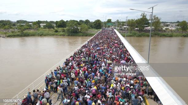 19 October 2018 Guatemala Tecún UmánThousands of migrants from Honduras are waiting on the border between Guatemala and Mexico Their destination is...