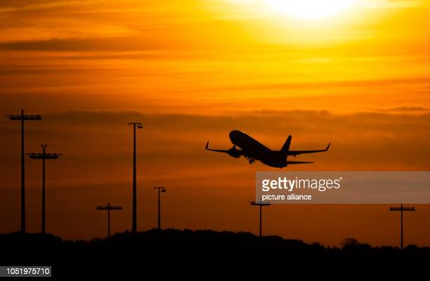 12 October 2018 Germany HamburgA passenger aircraft is climbing in front of the setting sun at Hamburg Airport Photo Mohssen Assanimoghaddam/dpa