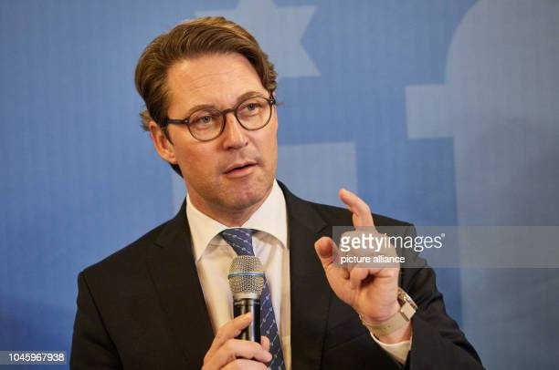 Andreas Scheuer Federal Minister of Transport and Digital Infrastructure will speak during a press conference after the Aviation Summit in Hamburg's...