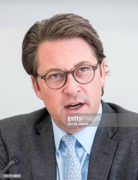 Andreas Scheuer Federal Minister of Transport speaks during a press conference on the Conference of Transport Ministers of the Federal States The...