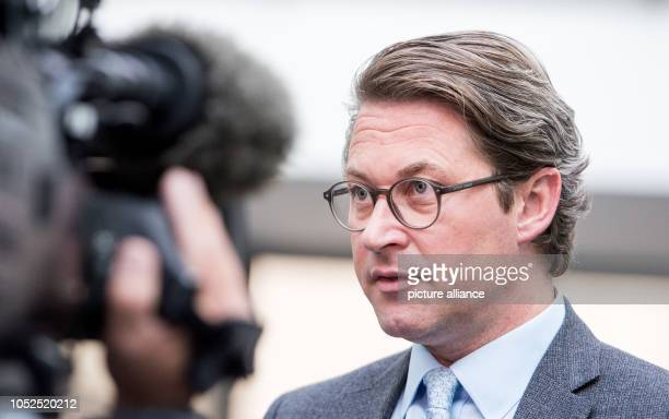 Andreas Scheuer Federal Minister of Transport gives an interview after a press conference on the conference of transport ministers of the federal...