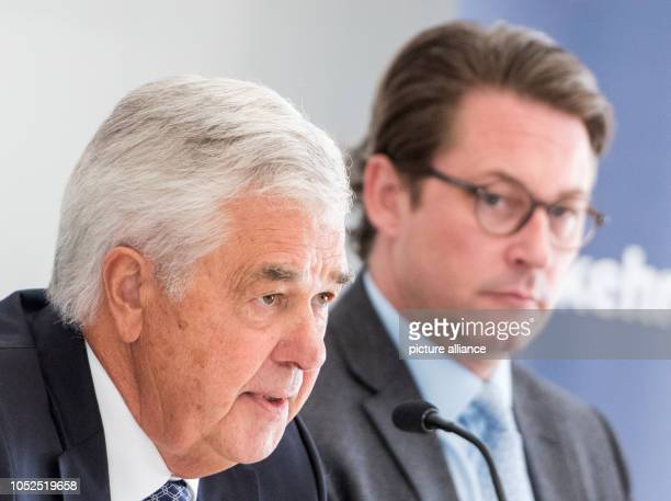 Frank Horch Transport Senator of Hamburg speaks during a press conference on the Conference of Transport Ministers of the Federal States alongside...