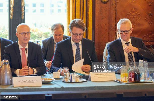 Peter Tschentscher Hamburg's First Mayor Andreas Scheuer Federal Minister of Transport and Digital Infrastructure and Guido Beermann State Secretary...