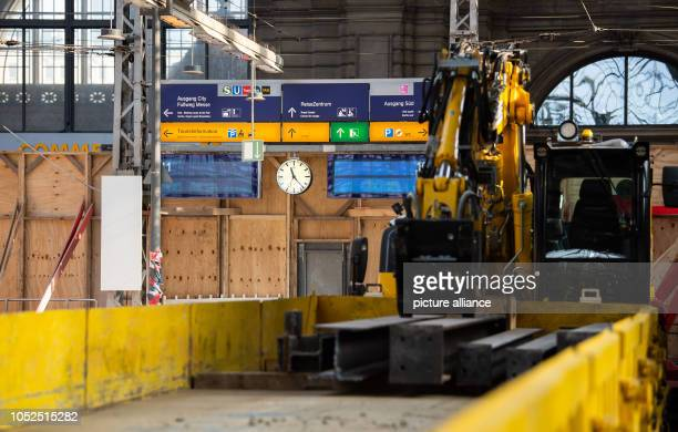 Scoreboards hang on platforms 10 and 11 at Frankfurt Central Station during extensive modernization and renovation work From 8 September to 8...