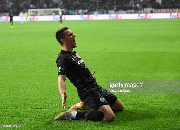 Soccer Europa League Eintracht Frankfurt Apollon Limassol Group Phase Group H 3rd matchday in the Commerzbank Arena Frankfurt's Filip Kostic cheers...