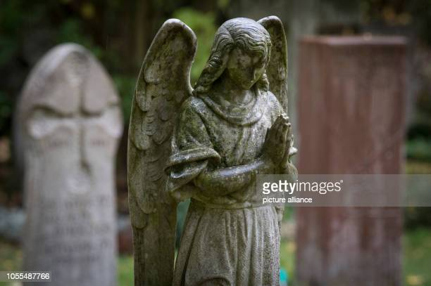 An angel sculpture stands on a grave In the cemeteries there are more and more graves that have been left to their own devices for years The reasons...