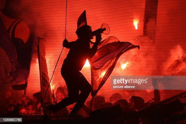 Soccer DFB Cup SV Wehen Wiesbaden Hamburger SV 2nd round in the Brita Arena In the block of HSV fans brent pyrotechnics Photo Thomas Frey/dpa...