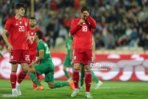Iran's Alireza Jahanbakhsh celebrates scoring his side's first goal during an International Friendly soccer match between Iran and Bolivia at the...