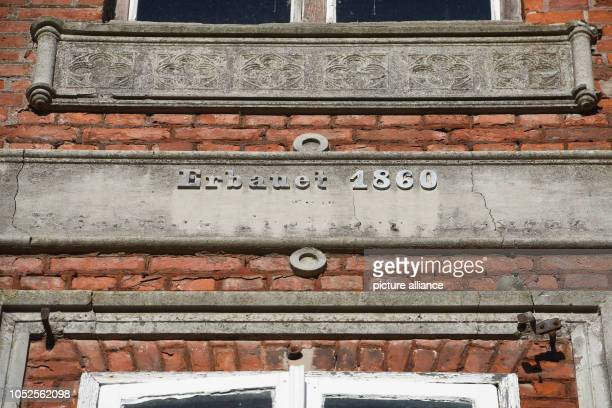 19 October 2018 MecklenburgWestern Pomerania Parow View of the lettering 'Erbau 1860' at the manor house north of Stralsund In 1860 the manor house...