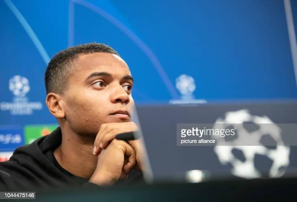 02 October 2018 North RhineWestphalia Dortmund Manuel Akanji from Borussia Dortmund speaks at a press conference in Signal Iduna Park BVB will face...